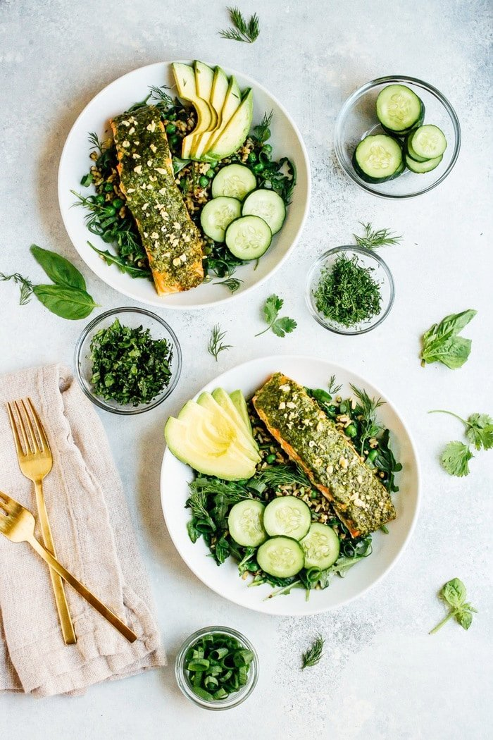 Green Goodness Grain Bowl with Baked Pesto Steelhead Trout