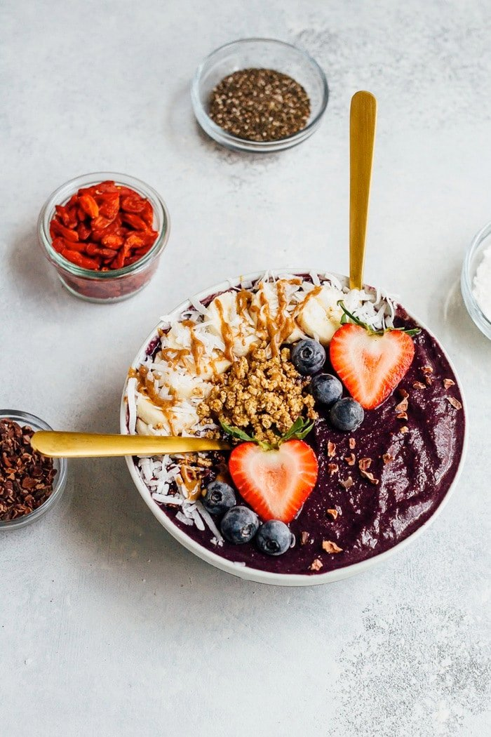 This thick and satisfying maqui berry smoothie bowl is loaded with antioxidants and offers the perfect combo of macronutrients without a ton of sugar.