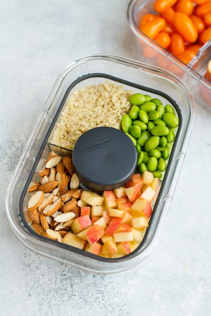 Packable Crunchy Detox Salad on rubbermaid dressing container