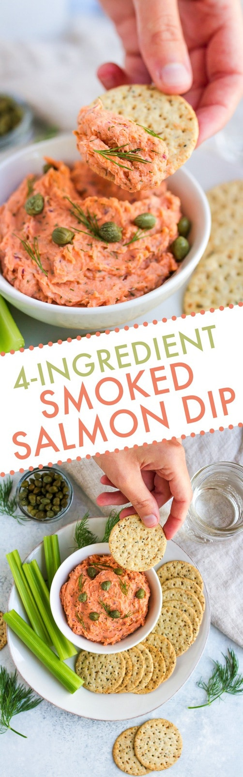 This 4-ingredient smoked salmon dip is so easy to make, loaded with flavor and provides a ton of protein. Serve with crackers and veggies as an appetizer or pack it up for a work lunch!