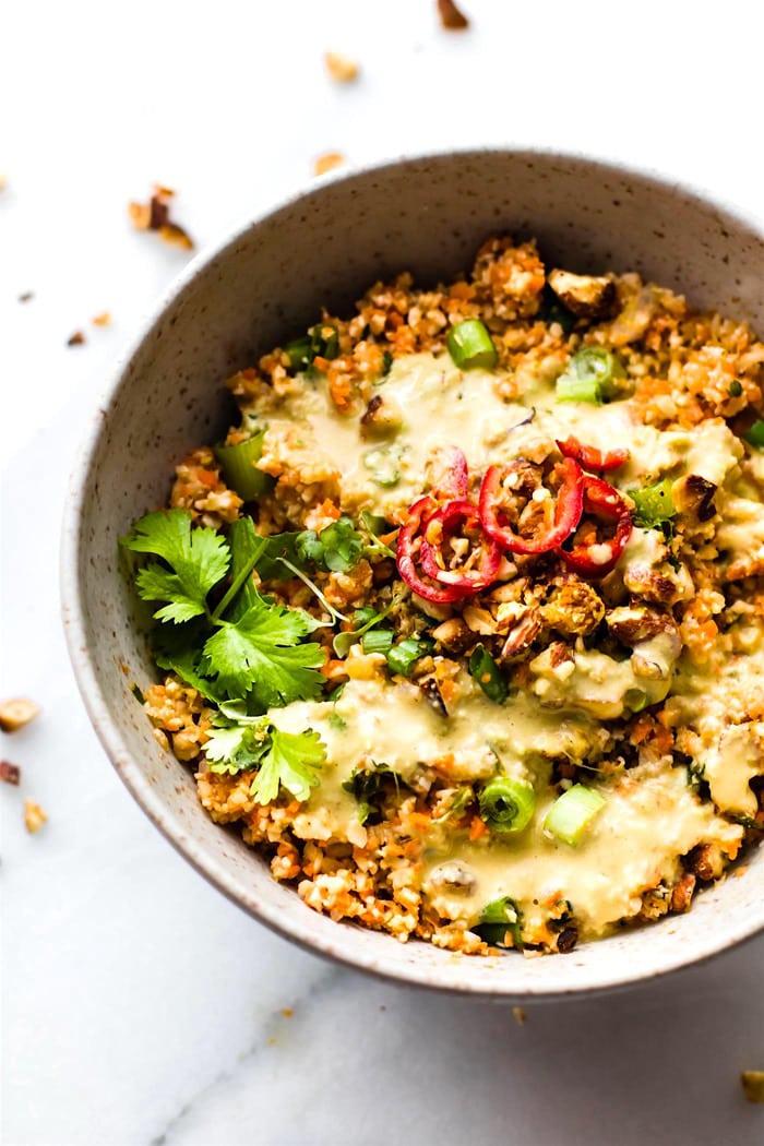Thai cauliflower rice salad with avocado cream dressing.