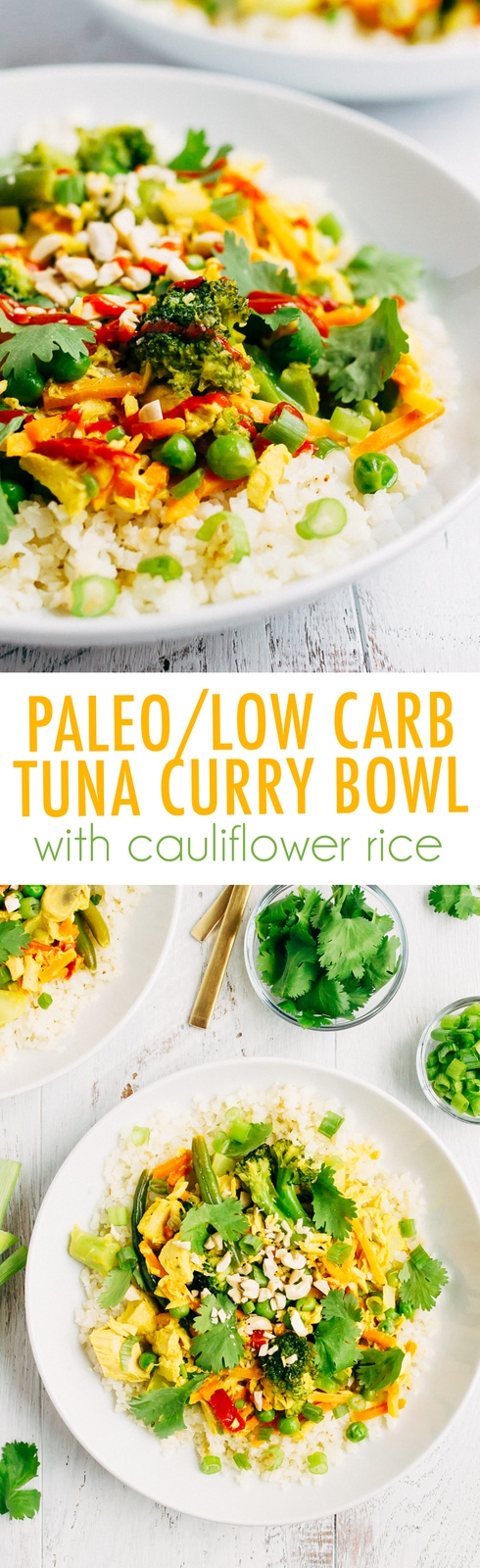 This simple tuna curry bowl is made with pantry/freezer staples and comes together in less than 20 minutes so it's perfect for a quick and healthy weeknight meal! Paleo, grain-free, gluten-free and low-carb.