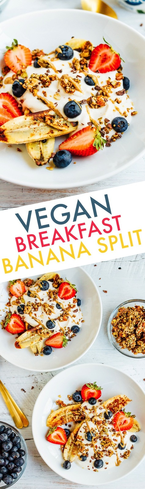 Have a dessert-inspired morning with this vegan banana split breakfast bowl. It's loaded with dairy-free yogurt, caramelized bananas, fresh berries, cacao nibs and grain-free granola. Vegan, gluten-free and kid-friendly!