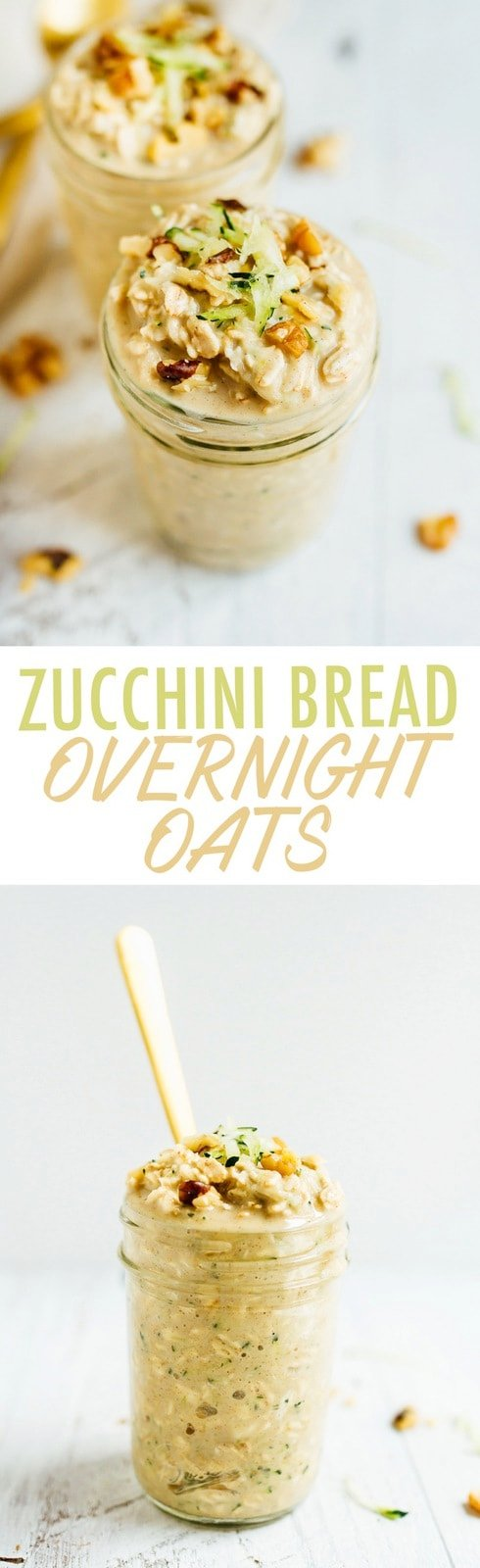 Zucchini bread overnight oats make for an easy and healthy portable breakfast. Made with oats, protein powder, grated zucchini and walnuts, these overnight oats are vegan and gluten-free.