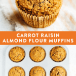 Carrot raisin almond flour muffin in a cupcake liner and in a muffin tray.