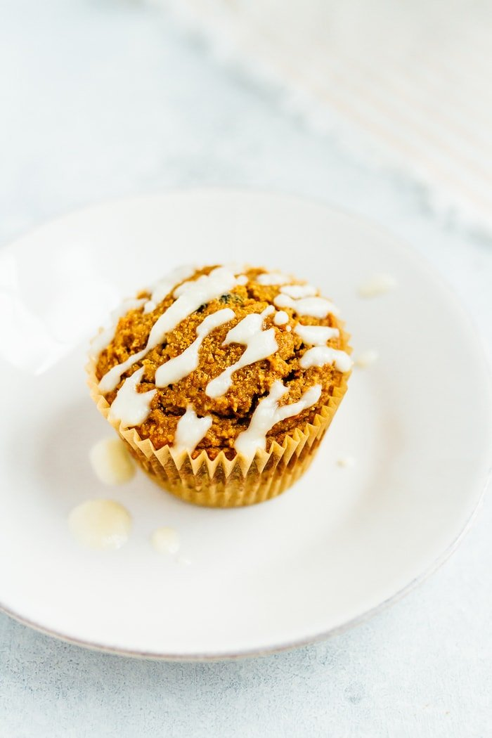 Carrot Raisin Muffins with Coconut Butter Drizzle