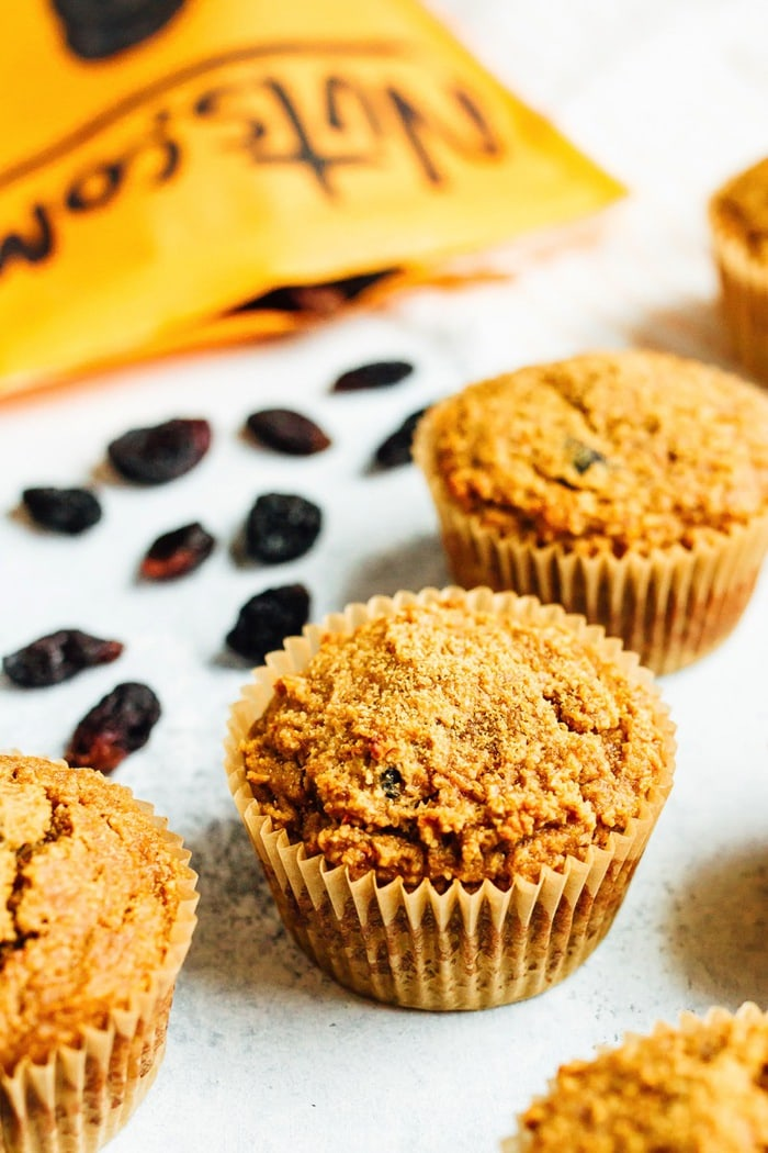 Grain-free carrot raisin muffins made with almond and coconut flour. Loaded with cinnamon flavor and studded with raisins, these moist muffins are sweet without being too sweet and lovely topped with a little coconut butter.