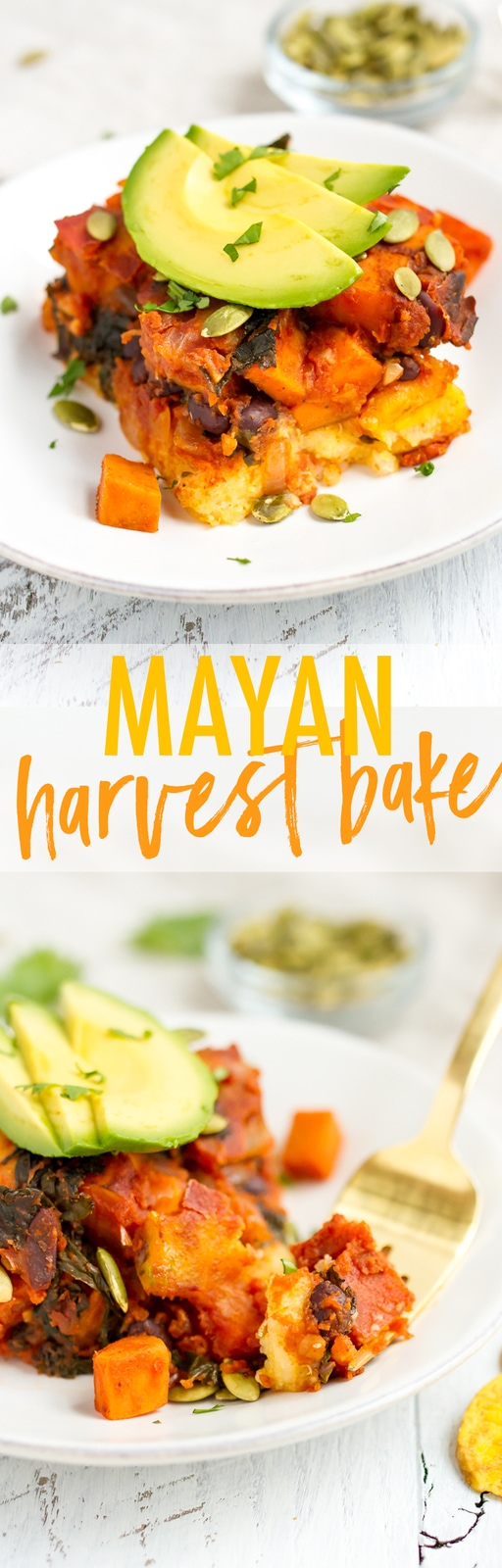 A homemade version of Kashi's Mayan Harvest Bake! This vegan + gluten-free casserole has layers of polenta and quinoa with roasted sweet potatoes, plantains, kale and black beans all in a rich ancho chile sauce.