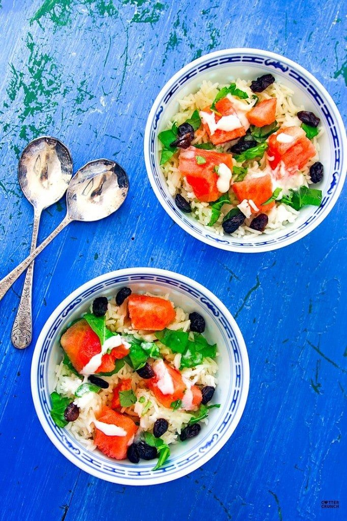 Coconut Rice and Watermelon Salad Bowls from Cotter Crunch