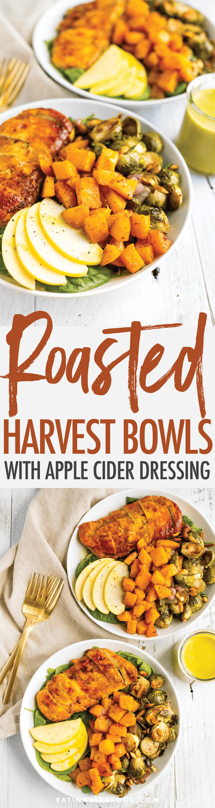 Roasted harvest bowls piled with veggies, apples, maple turmeric chicken, and an apple cider dressing.
