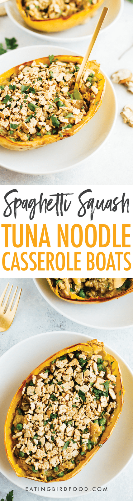 A healthy spin on a comfort food classic, these spaghetti squash tuna noodle casserole boats are filled with loads of creamy noodle goodness. Gluten-free, dairy-free, low-carb and paleo!