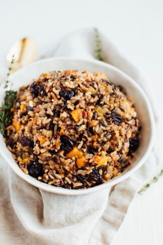 Wild Rice Stuffing with Butternut Squash and Sweet Cherries