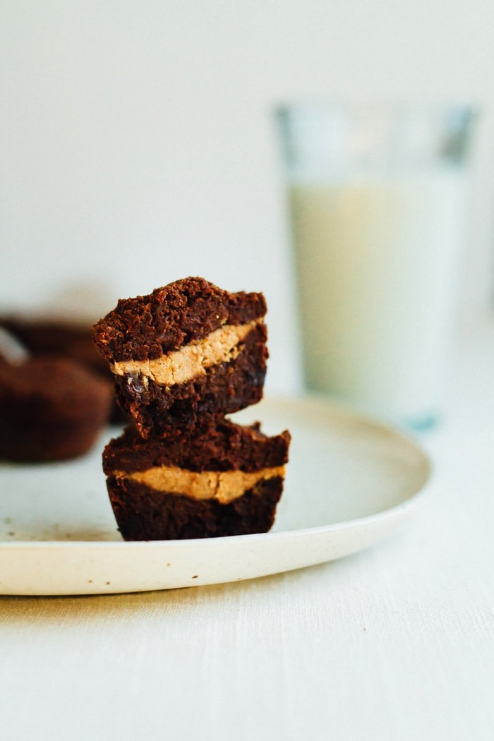 sweet potato brownie bites with an almond butter filling