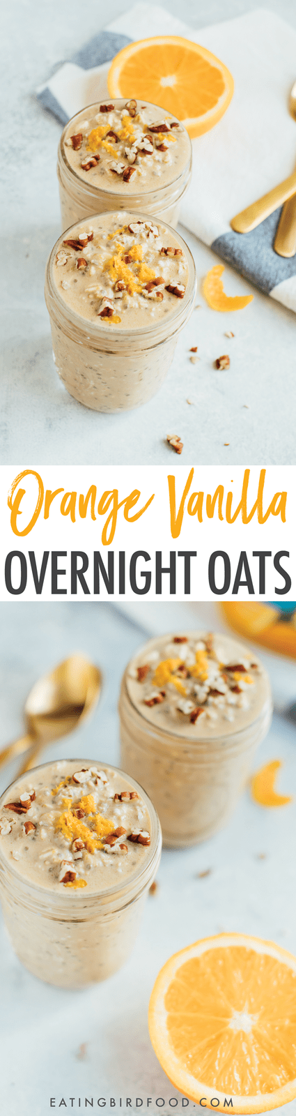 These vanilla orange overnight oats combine the bright citrus flavor of orange juice with hints of vanilla for a delicious, make-ahead breakfast.