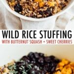 Bowl of wild rice stuffing and a pot with wild rice, butternut squash cutes and dried cherries.