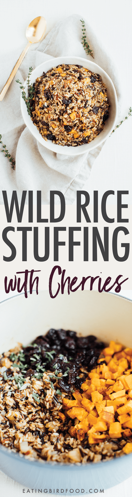 Dried sweet cherries and roasted butternut squash add a hint of sweetness to this savory wild rice stuffing. // Vegan + Gluten-free