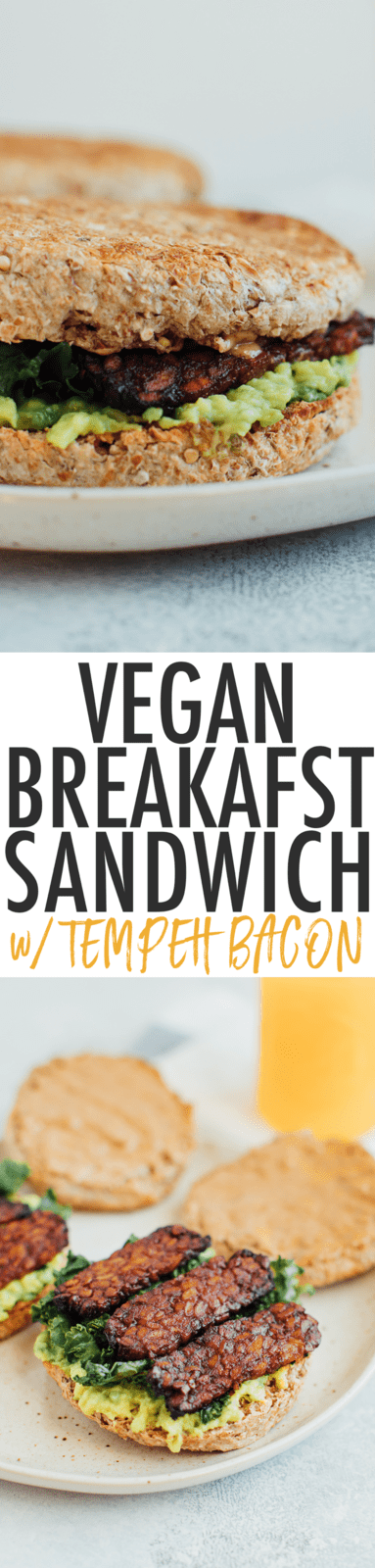 A vegan breakfast sandwich loaded with all the goods: creamy avocado, almond butter, sautéed kale and tempeh bacon, served on a perfectly toasted english muffin.