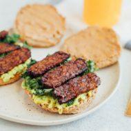 Vegan Breakfast Sandwich with Tempeh Bacon (VIDEO)