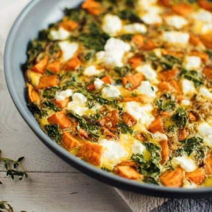 Roasted Sweet Potato Kale Frittata
