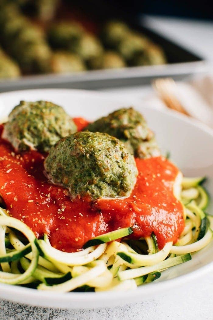 These simple clean eating Popeye turkey meatballs are moist and flavorful, loaded with veggies and require no binders! Meal prep a batch on the weekend so you can add them to pasta, sandwiches, salads and more throughout the week! Gluten-free, diary-free, paleo.