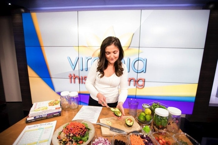 Brittany Mullins of Eating Bird Food on CBS6 News Virginia This Morning // Making Mason Jar Salads
