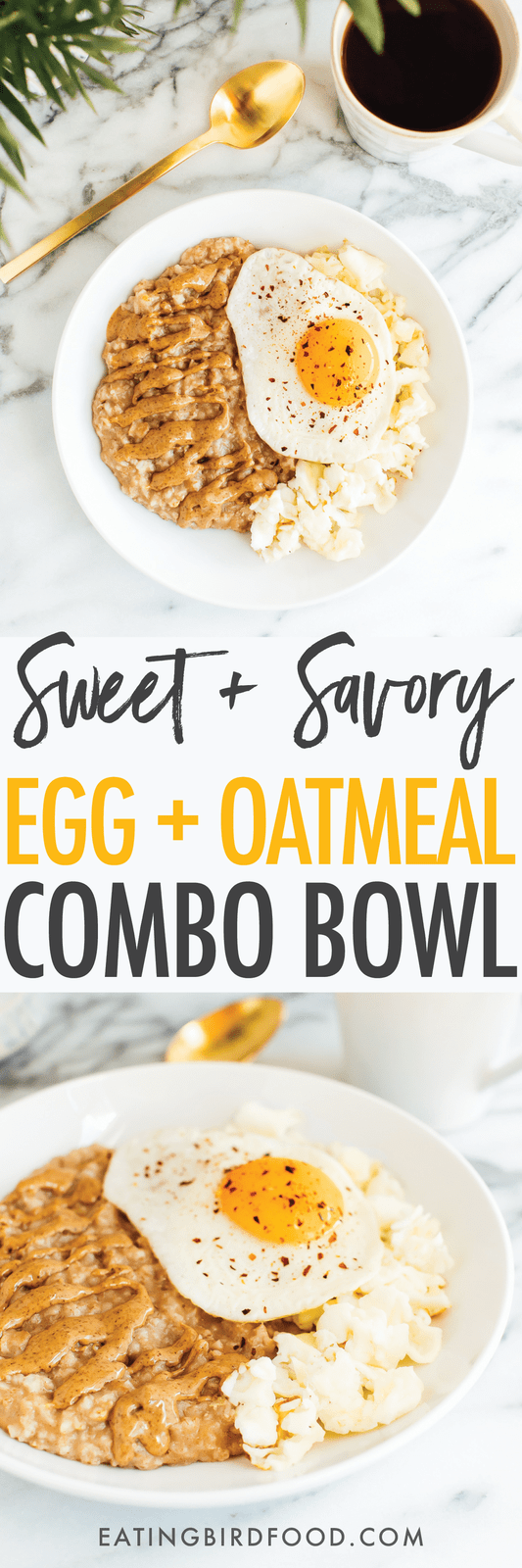 Having eggs and oats for breakfast? Put them in one bowl for a sweet + savory egg and oatmeal bowl that offers the perfect balance of protein, carbs and fat! Added bonus, there's only one serving dish to wash!