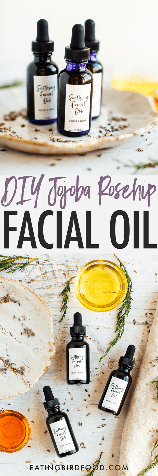 Rosehip, jojoba and lavender oil come together in this DIY facial oil with nourishing properties. Particularly good for those with dry, sensitive or aging skin. Includes printable labels, which are perfect if you're making this facial oil to give as a gift!