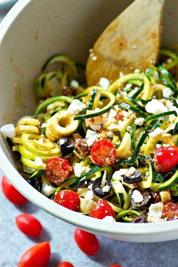 Mediteranean zucchini noodles