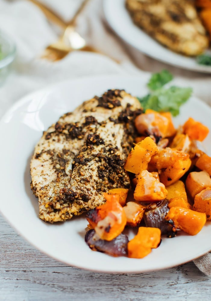 Za'atar Chicken with Butternut Squash and Red Onion