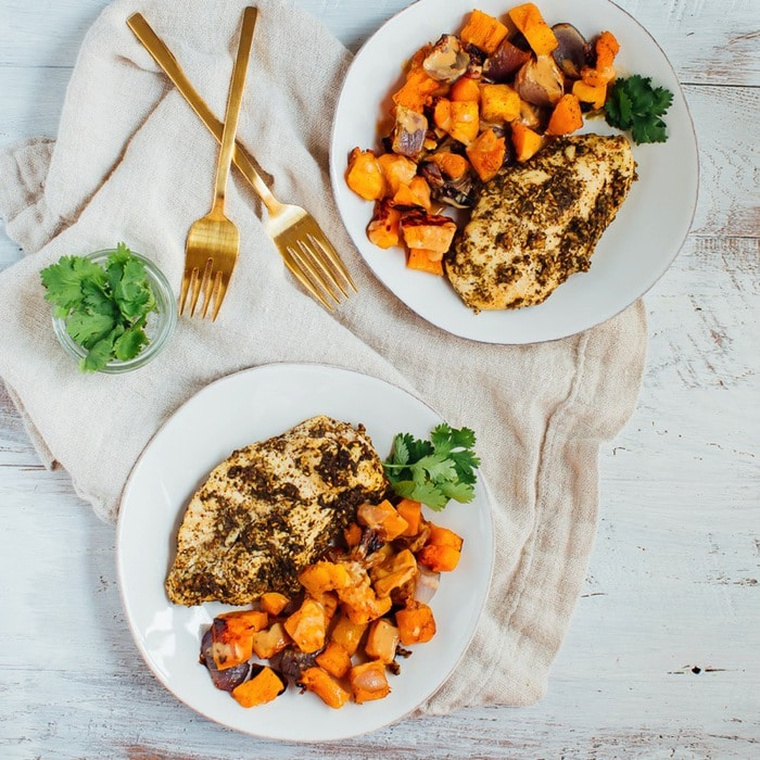 Get inspired by Middle Eastern flavors with this one pan za'atar chicken bake. It's easy to whip up and tastes incredible, especially with a drizzle of tahini dressing. Paleo, gluten-free and whole30 approved.