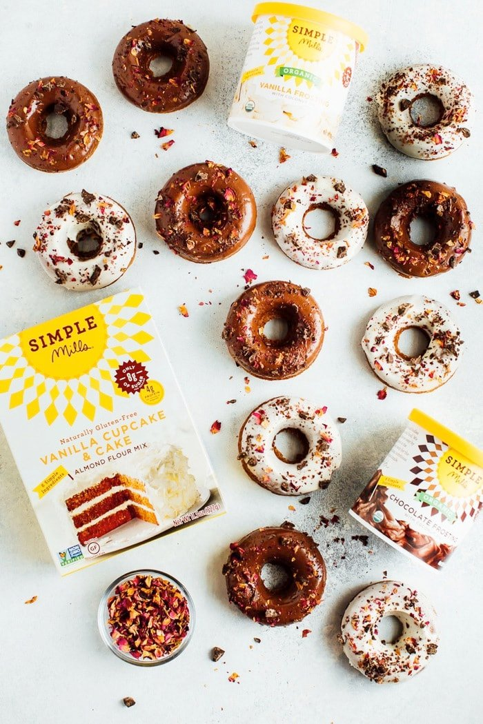 Perfect for Valentine's Day, these baked almond flour donuts with rose petals and dark chocolate are gluten-free, dairy-free and naturally sweetened with coconut sugar.