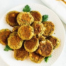 Polka dot plate with homemade vegan falafel.