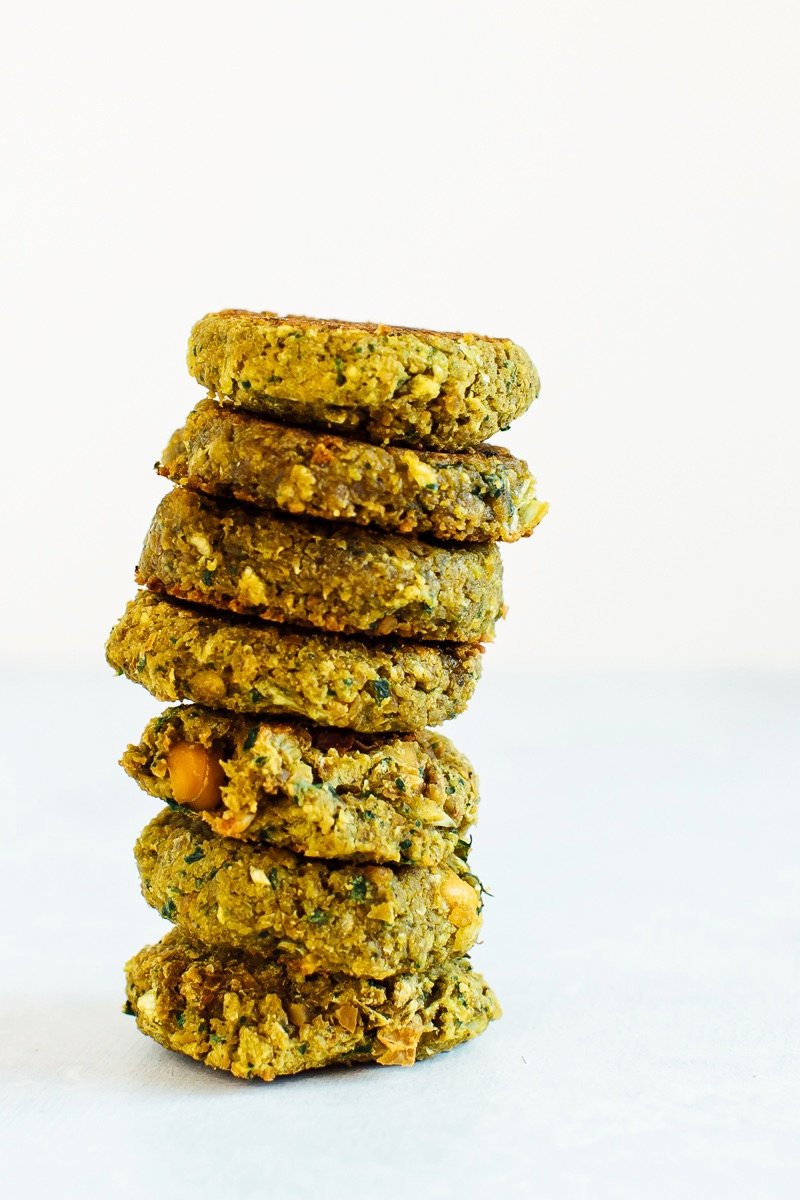 Stack of seven small falafel patties