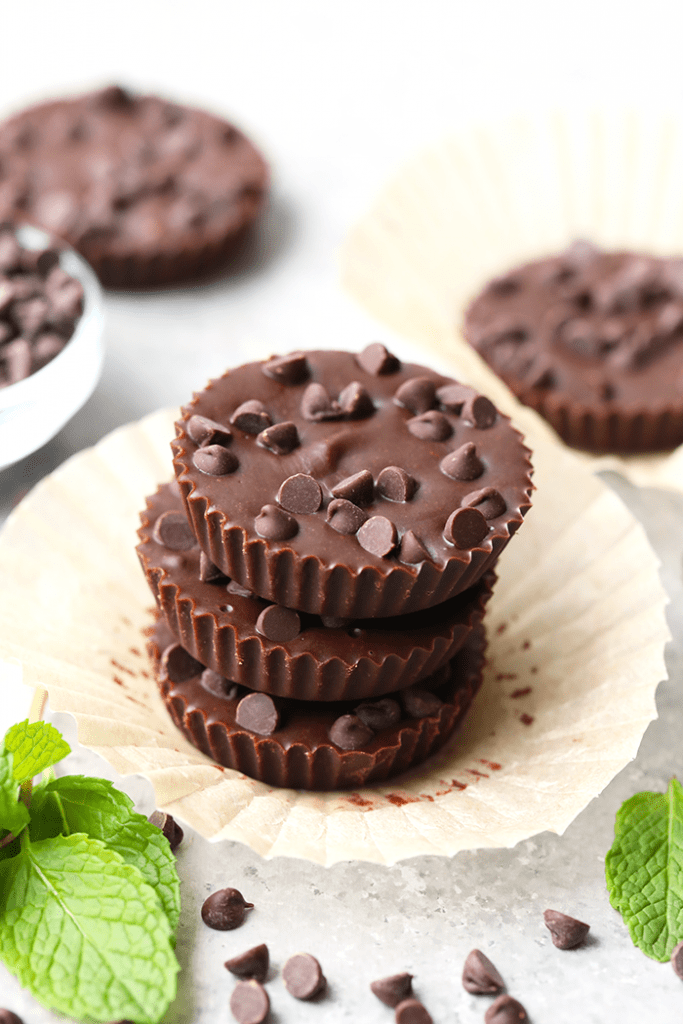 Three stacked Thin Mint Almond Butter Cups