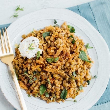 Lightened Up Mujadara: Caramelized Onions, Lentils and Cauliflower Rice