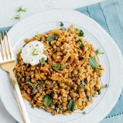 Lightened Up Mujadara: Caramelized Onions, Lentils and Cauliflower Rice