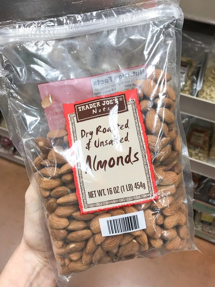 Package of Dry Roasted & Unsalted Almonds.