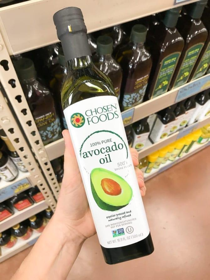 Bottle of Avocado Oil.