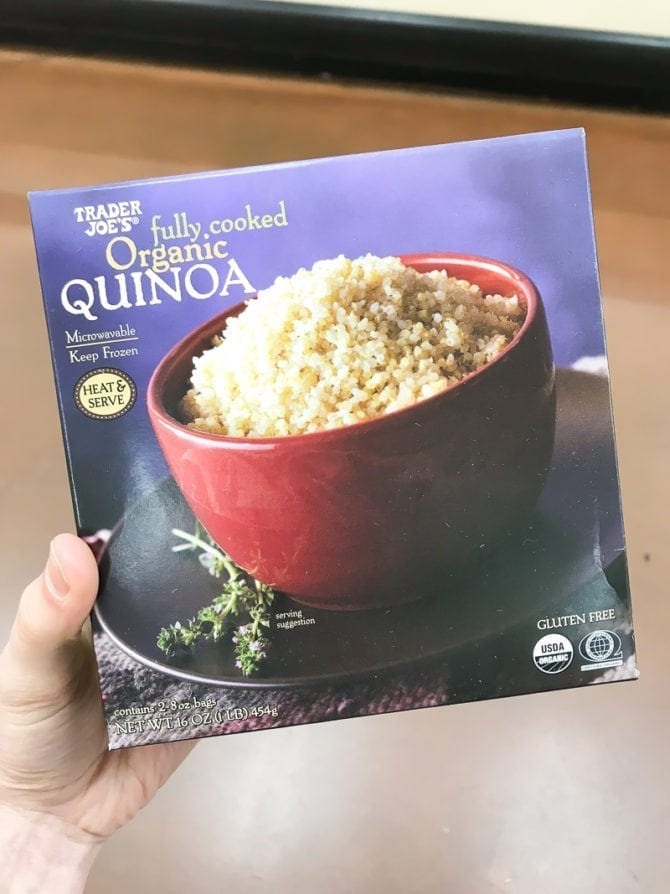 Box of fully cooked organic quinoa.