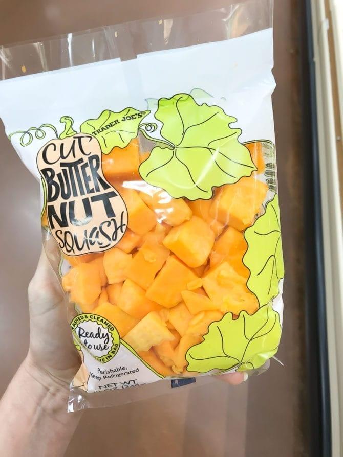 Package of cut Butternut Squash.