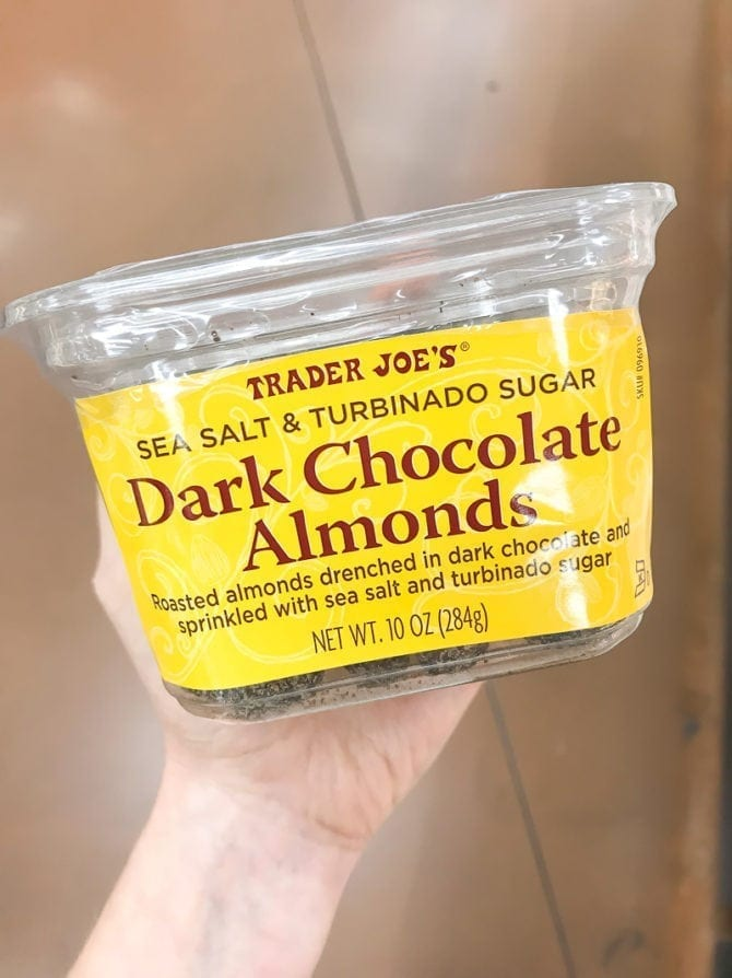 Container of Dark Chocolate Almonds.