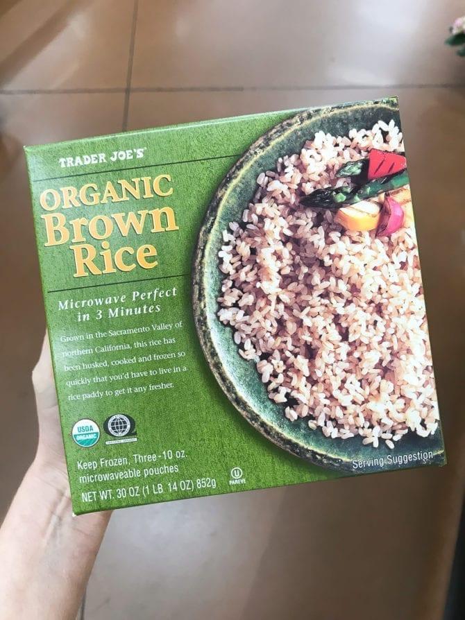 Box of organic brown rice.