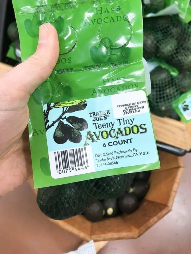 Bag of Teeny Tiny avocados from Trader Joes