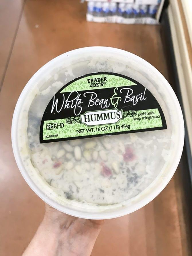 Container of White Bean & Basil Hummus.