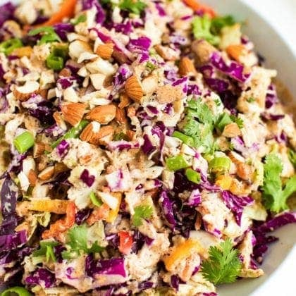 Crunchy Asian Chopped Salad with Creamy Almond Dressing