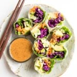 Fresh vegetables spring rolls on a rustic plate with homemade peanut sauce. Chopsticks are laying on the plate as well.