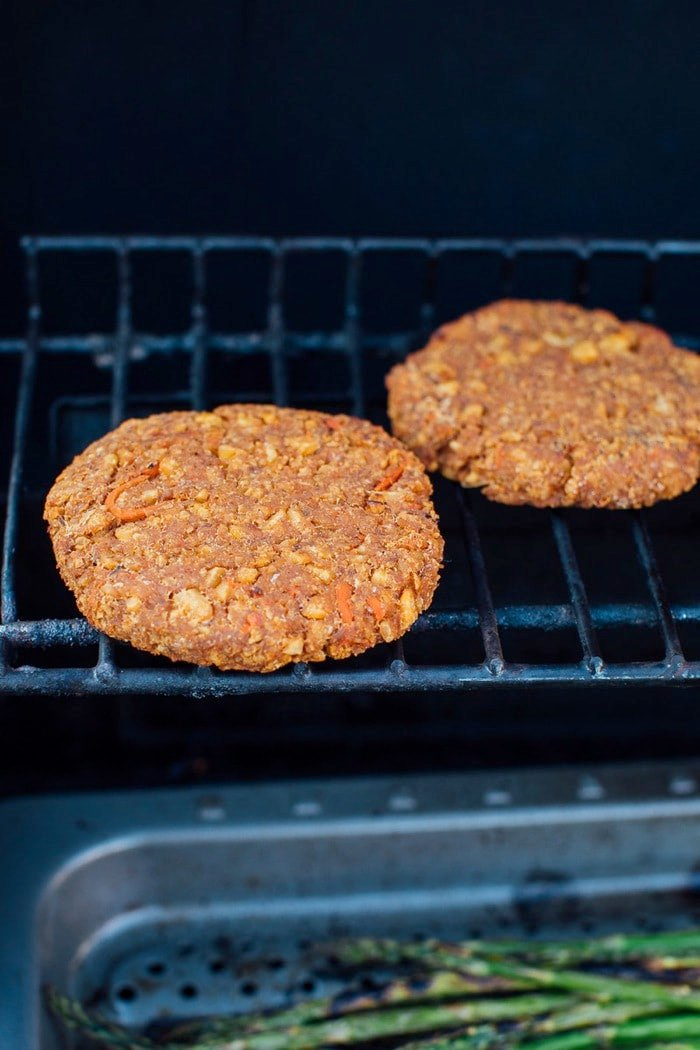 Tempeh burgers on the grill