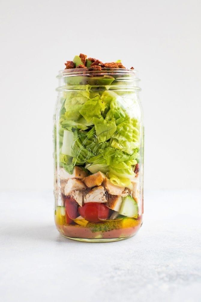 Chicken Avocado Club Mason Jar Salad
