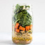 Meal Prep Salad – Kale Sweet Potato Lentil Salad