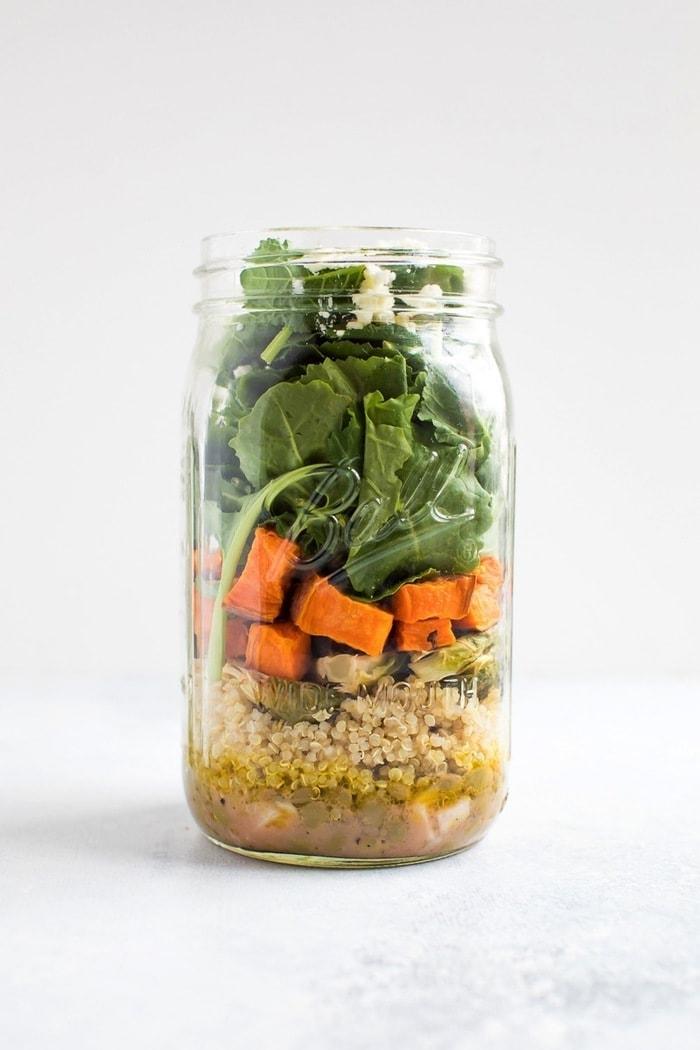 Meal Prep Salad - Kale Sweet Potato Lentil Salad